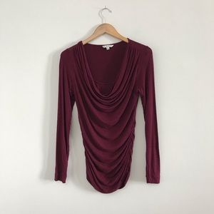 Cabi Draped Front Cowl Neck Top Burgundy Maroon B2